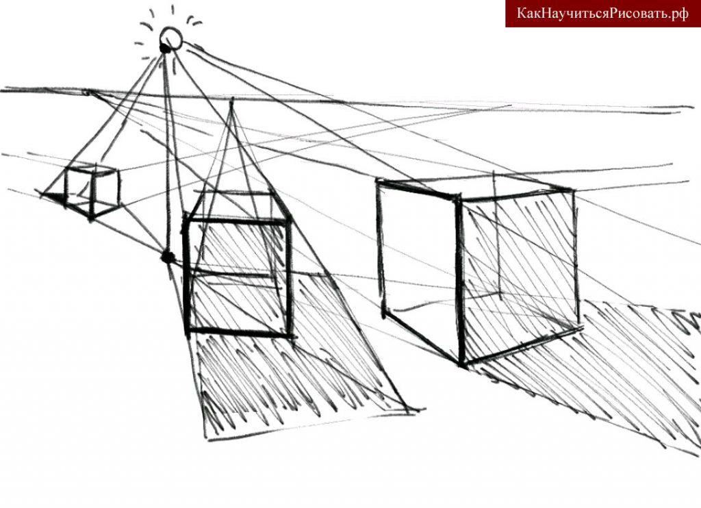 Построение теней кубов при естественном освещении
