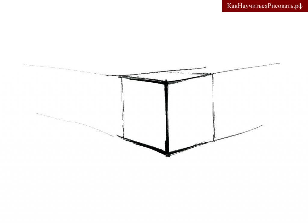 Усиление линейного рисунка куба