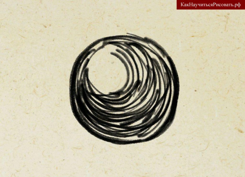 Штрихование круга по форме