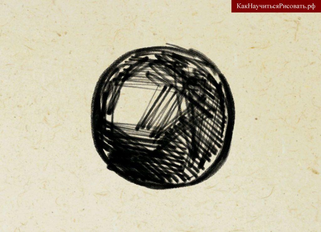 Штрихование круга в свободном стиле