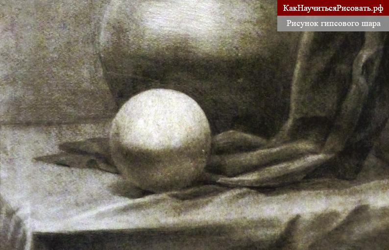 Рисунок гипсового шара карандашом